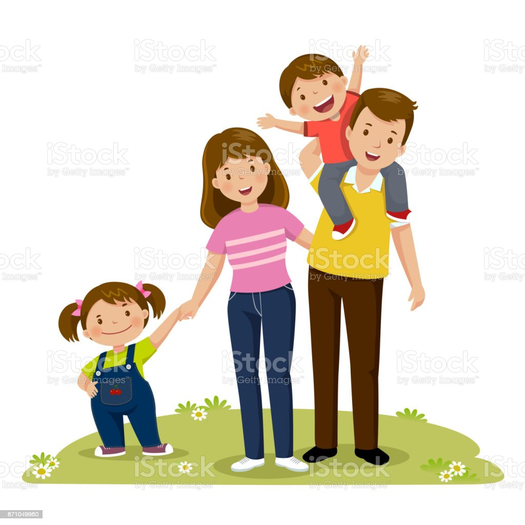 Portrait of four member happy family posing together. Parents with kids vector art illustration
