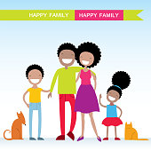Portrait of four member of African American family with their pets, posing together smiling happy. Lovely cartoon characters. Vector illustration