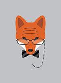 Portrait of fox grandma, wearing glasses, cool style