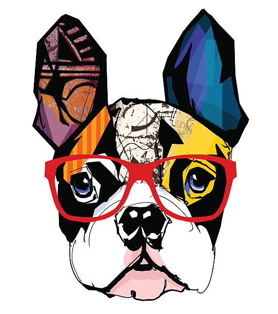 portrait of french bulldog wearing sunglasses - 색칠한 이미지 stock illustrations