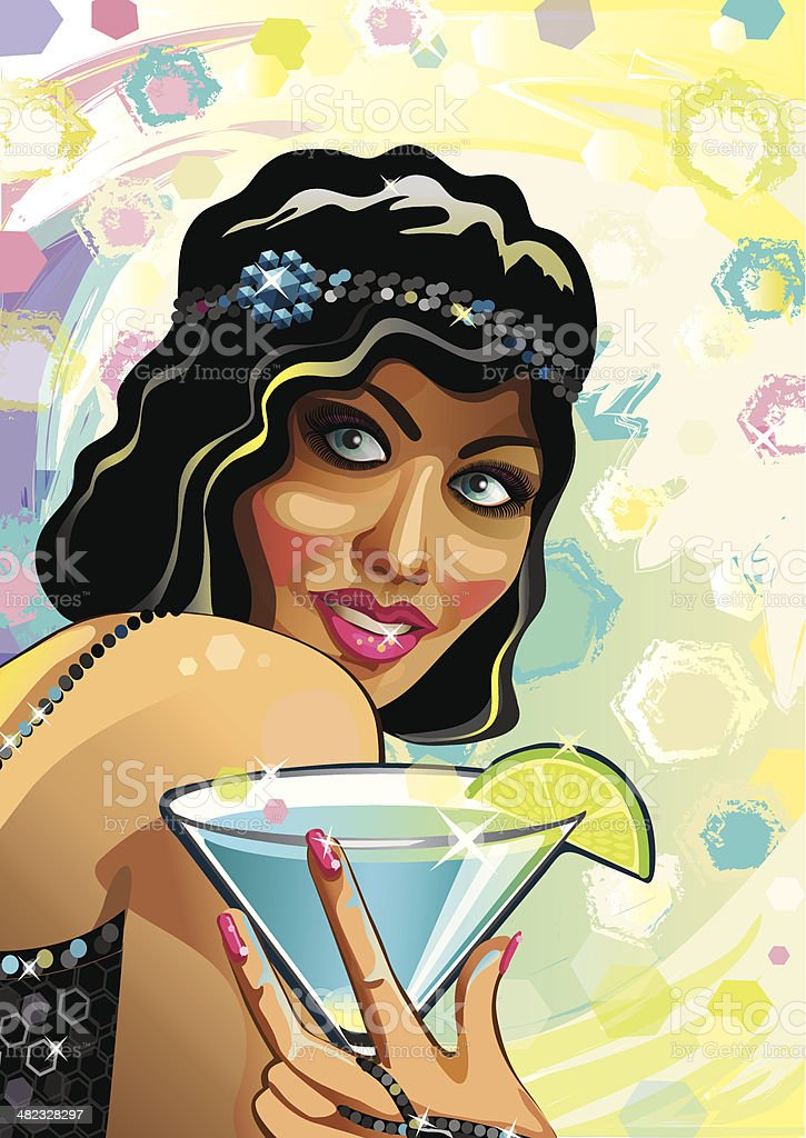 Portrait of funny female with blue cocktail and gloved hand.Vector. royalty-free portrait of funny female with blue cocktail and gloved handvector stock vector art & more images of abstract
