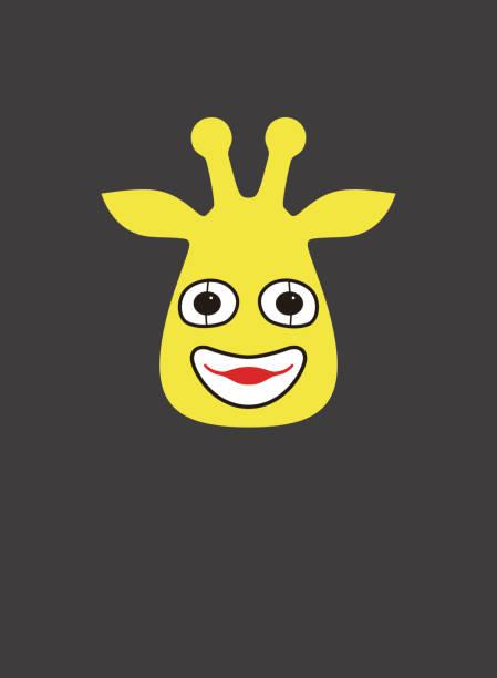 porträt von giraffe, zeichnen etwas auf dem gesicht, wie clown, coolen style - giraffenkostüm stock-grafiken, -clipart, -cartoons und -symbole