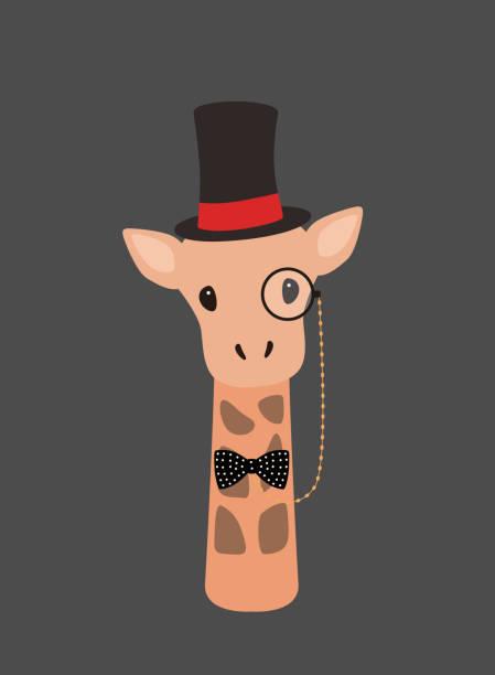 porträt von giraffe, herr hut, coolen style - giraffenkostüm stock-grafiken, -clipart, -cartoons und -symbole