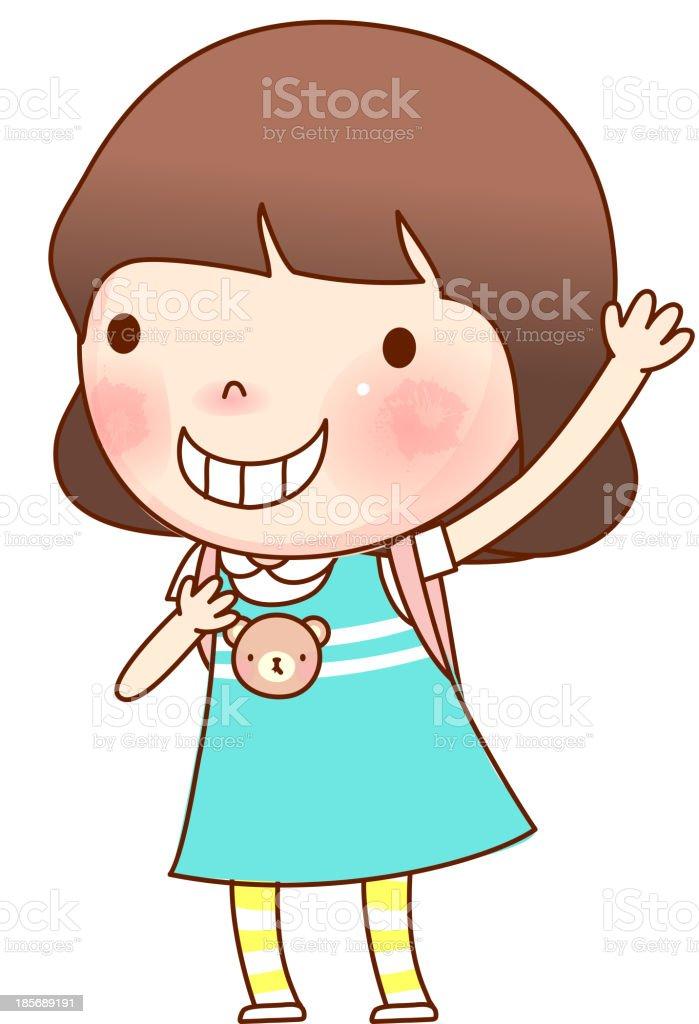 Portrait of girl vector art illustration