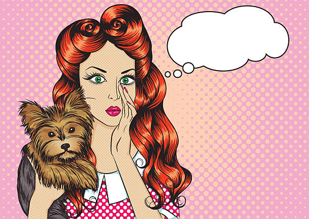 portrait of girl with dog and the speech bubble - redhead stock illustrations, clip art, cartoons, & icons