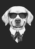 istock Portrait of Golden Retriever in suit. Hand-drawn illustration. Vector isolated elements. 1189107807