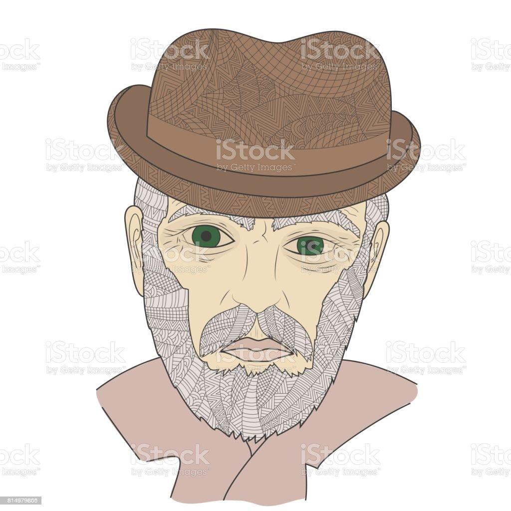 Dedesi Bıyıklı Portresi Yaşlı Adam Bir şapka Ve Gözlük Boyama Kitabı
