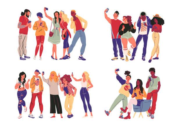 porträt der gruppe von jungen teenagern in stilvollen kleidung mit smartphones fotografieren, machen selfie, sms und surfen im internet isoliert auf weißem hintergrund. - selfie stock-grafiken, -clipart, -cartoons und -symbole
