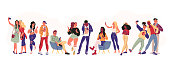 Portrait of group of young teens in stylish clothes with smartphones taking photo, making selfie, texting and surfing in internet isolated on white background. Vector flat illustration.