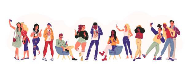 stockillustraties, clipart, cartoons en iconen met portret van de groep van jonge tieners in stijlvolle kleding met smartphones foto, maken van selfie, texting - selfie
