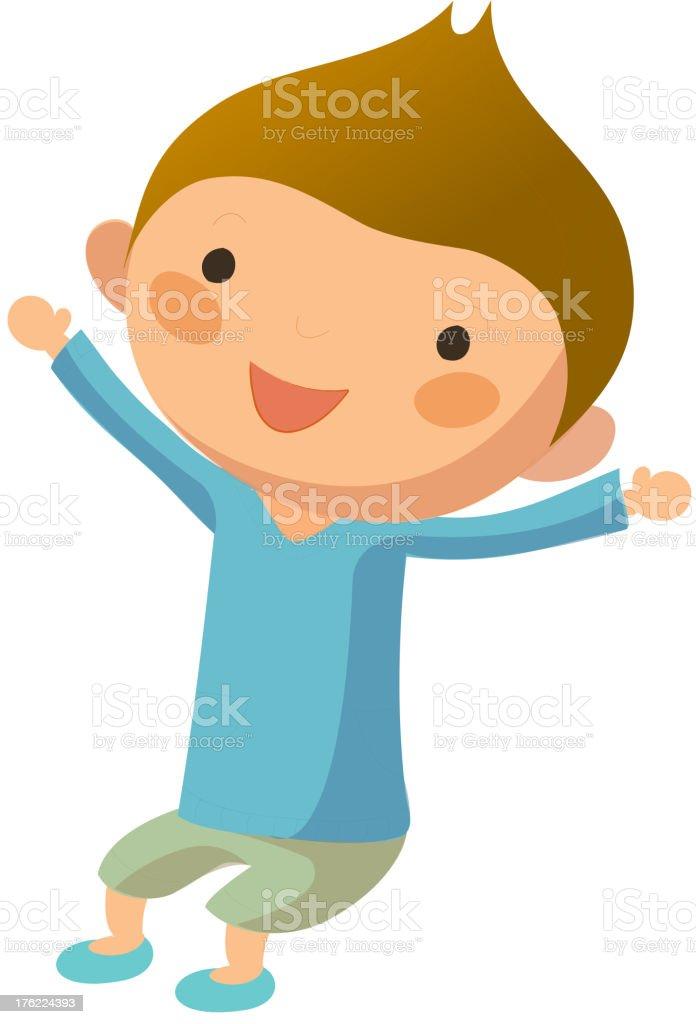 Portrait of happy boy vector art illustration