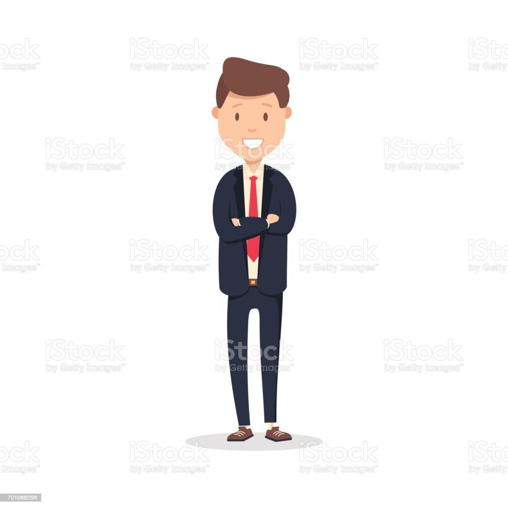 Retrato de feliz hombre de negocios con los brazos cruzados de pie. Ilustración de vector de joven empresario feliz aislado en blanco - ilustración de arte vectorial