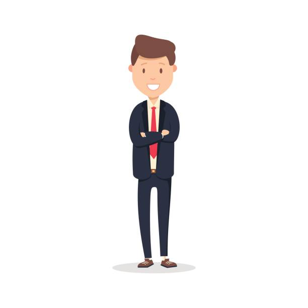 Portrait of happy businessman with arms crossed standing. Young happy businessman vector illustration isolated on white vector art illustration