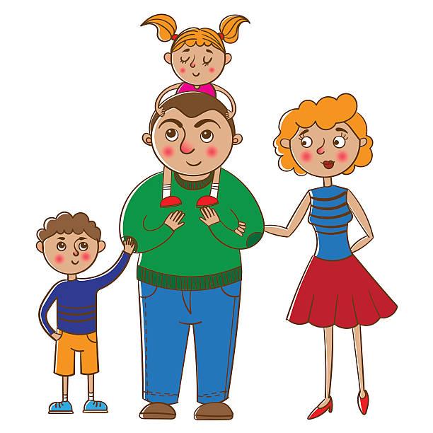 幸せな家族のポートレート。 - 姉妹点のイラスト素材/クリップアート素材/マンガ素材/アイコン素材