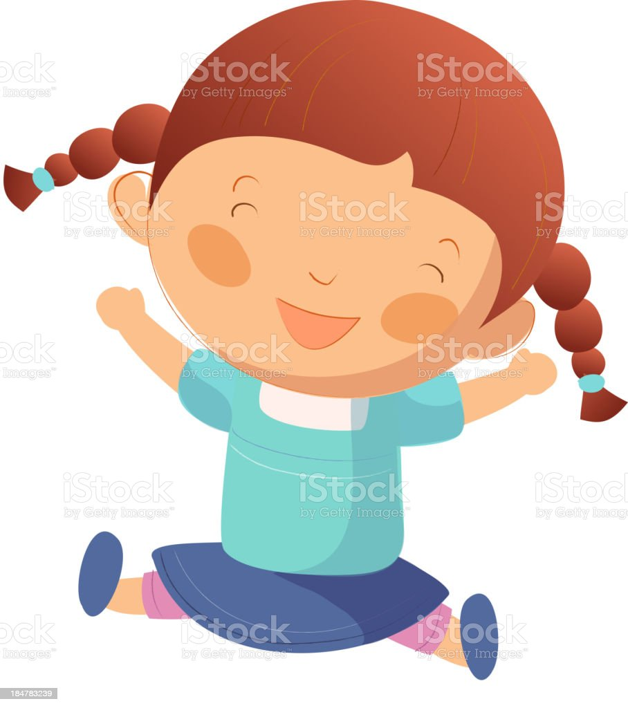 Portrait of happy girl royalty-free portrait of happy girl stock vector art & more images of brown hair