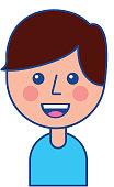 portrait of happy young boy smiling cartoon