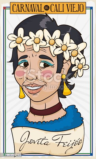istock Portrait of Jovita Character and Scroll for Cali Viejo Parade 1196385249