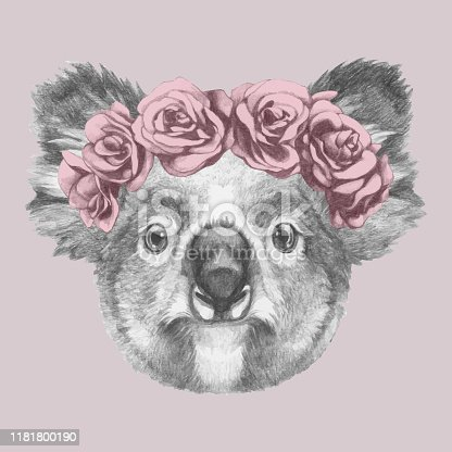 Portrait of Koala with floral head wreath. Hand-drawn illustration of dog.