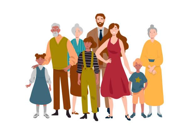 Porträt der Großfamilie. Mutter, Vater, Kinder, Großmutter, Großvater. – Vektorgrafik
