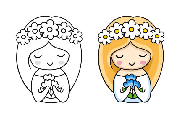 porträt der kleinen niedlichen braut in einem kranz aus weißen gänseblümchen, mit blauen blumen. - hochzeitsanstecker stock-grafiken, -clipart, -cartoons und -symbole