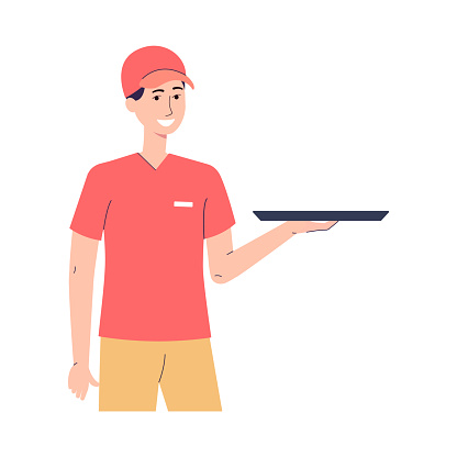 Portrait of male character worker of fast food restaurant with tray on hand.