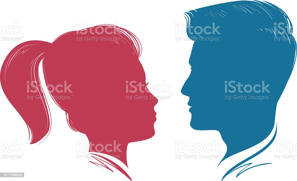 Ilustración de Retrato De Hombre Y Mujer Perfil De La Cabeza Silueta ...