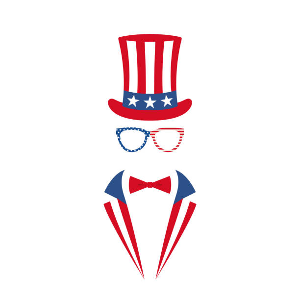 ilustrações de stock, clip art, desenhos animados e ícones de portrait of man in glasses, tuxedo and hat of uncle sam. national holiday in united states of america independence day. vector illustration. - míssil terra ar