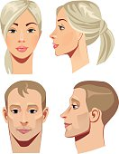 vector illustration of face men and women in straight and profile