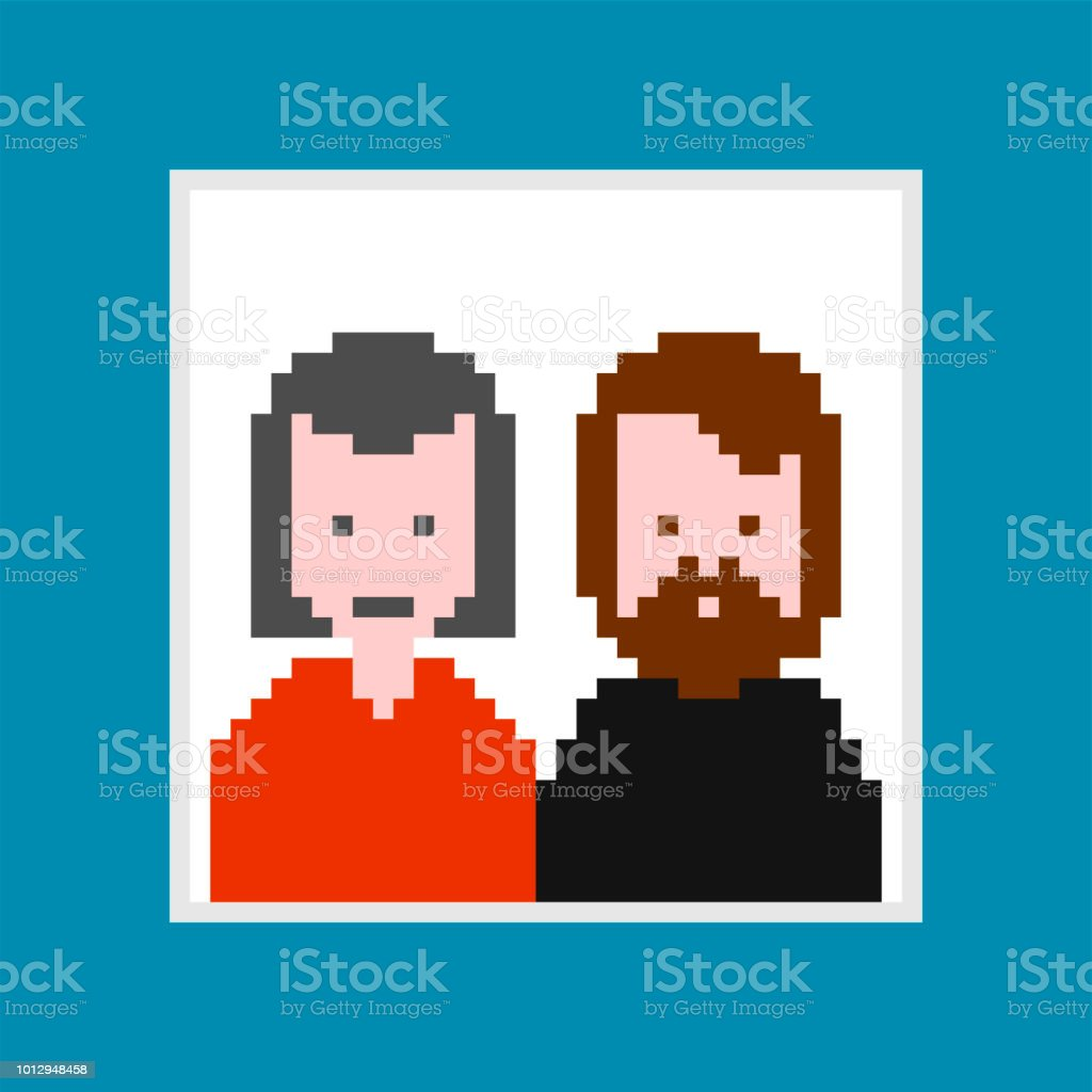 Portrait Of Parents In Frame Pixel Art Mom And Dad 8 Bit Digital