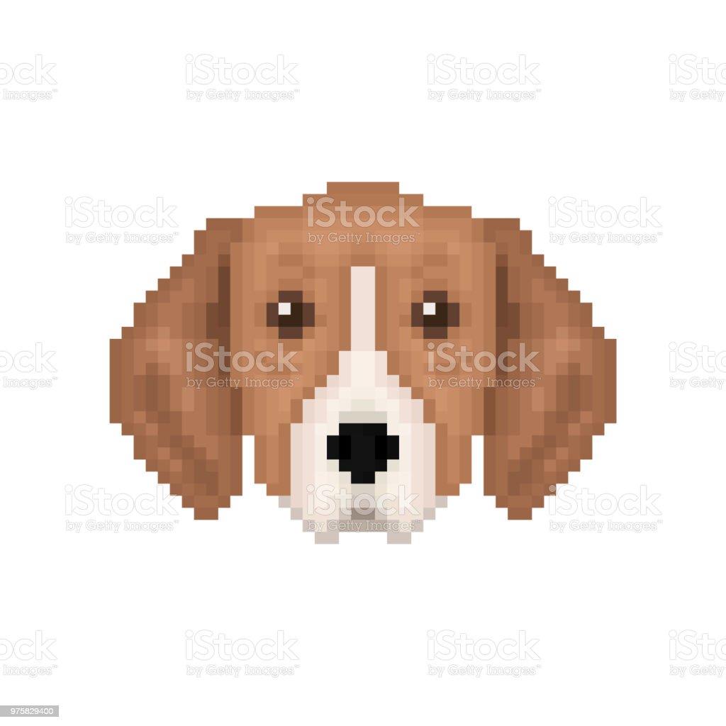 Portrait De Chien Chiot Icône De Chien Pixel Art Illustration Vectorielle Vecteurs Libres De Droits Et Plus Dimages Vectorielles De Affiche