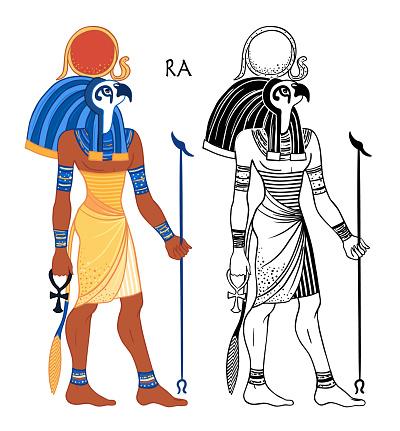 Portrait of Ra,  Egyptian god of sun.