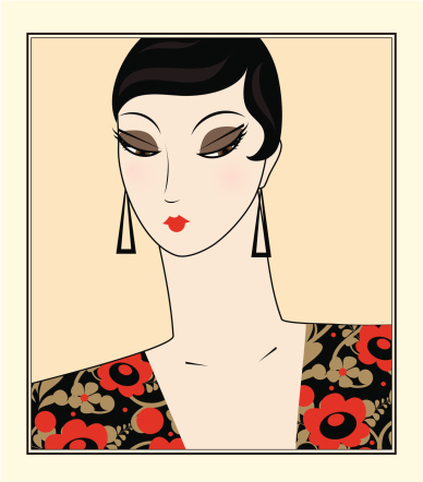 Portrait of retro woman