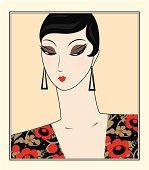 Portrait of retro woman, Art Deco stylization.