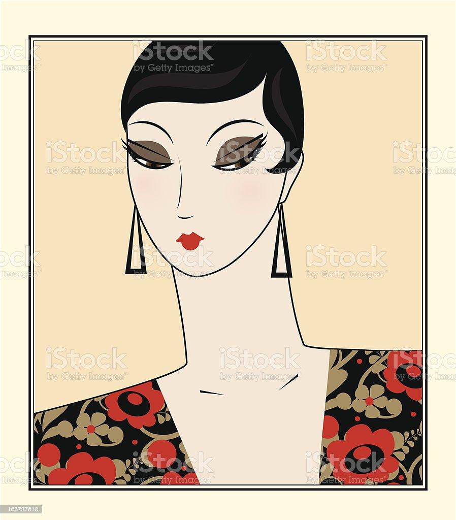 Portrait of retro woman vector art illustration