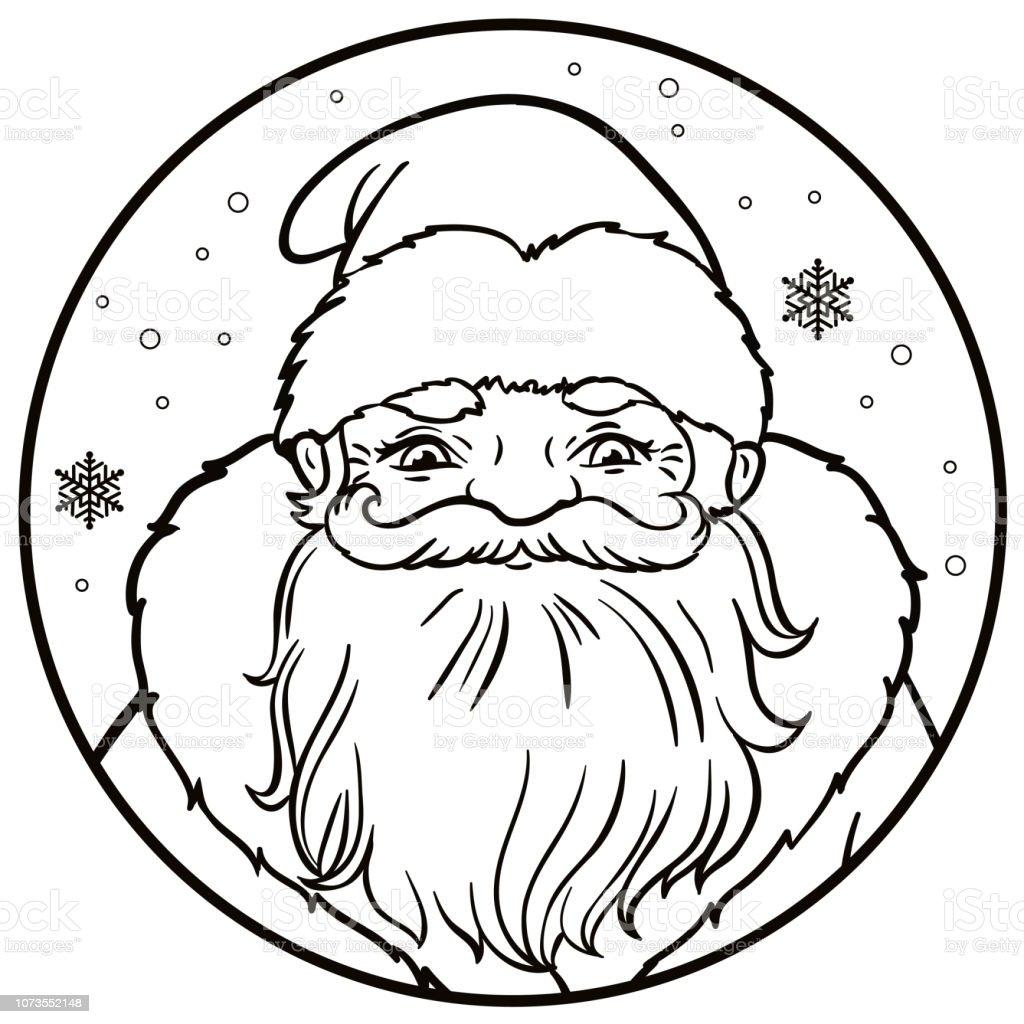 Rus Noel Baba Portresi Bir Turda Kar Taneleri Ile Vektor Cizim