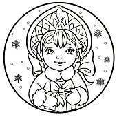 Portrait of Russian Snow Maiden with a gift. Vector illustration on a round with snowflakes. Icon traditional New Year character Snegurochka. Outlined for coloring book.