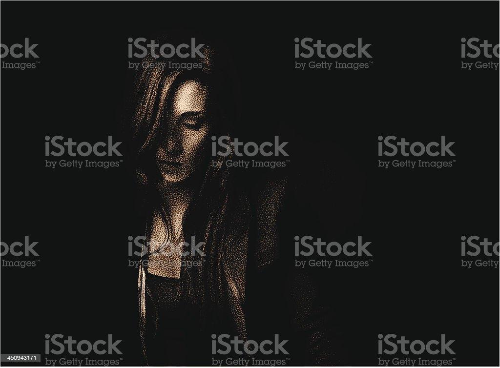 Portrait of Sad Woman Low Key Sepia vector art illustration