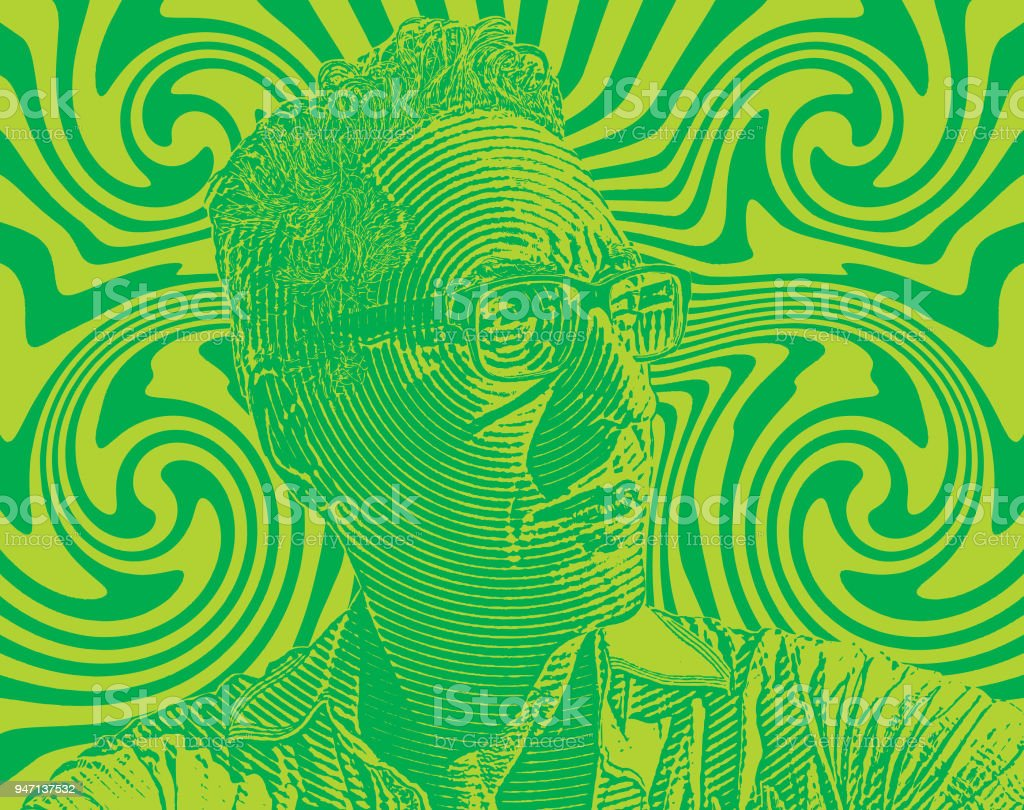 Portrait of serious man with halftone pattern background vector art illustration