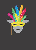 Portrait of sheep, wearing feather hat and mask, like samba dancer,  cool style
