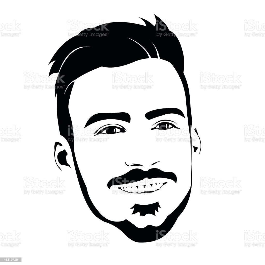portrait of smiling friendly hipster with beard vector. Black Bedroom Furniture Sets. Home Design Ideas