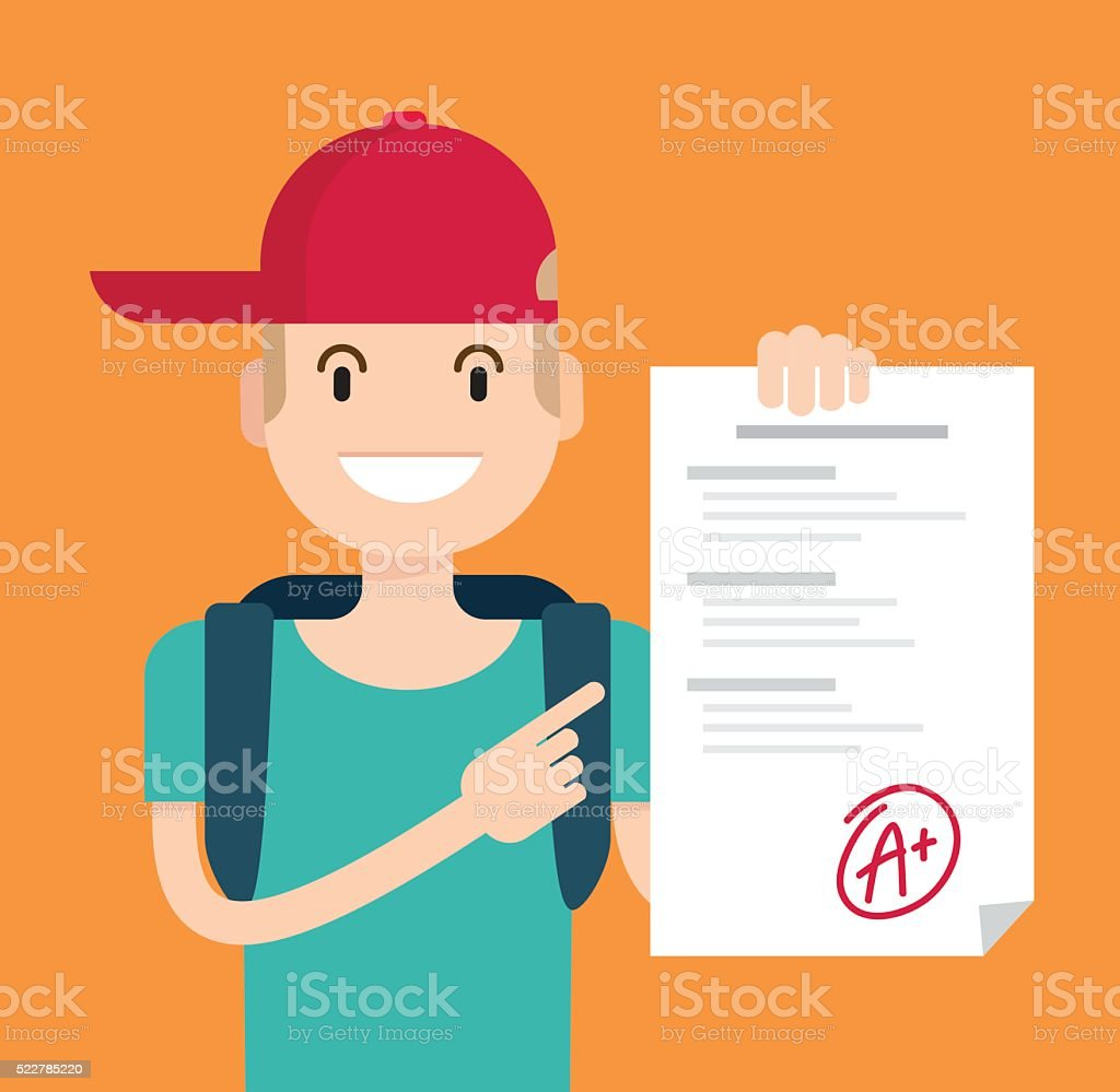 Portrait of teenager showing perfect test results with a plus. vector art illustration