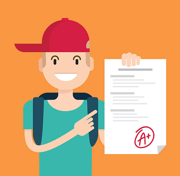 Portrait of teenager showing perfect test results with a plus. Portrait of teenager showing perfect test results with a plus. A paper with the top university grade. Vector flat  illustration passing giving stock illustrations
