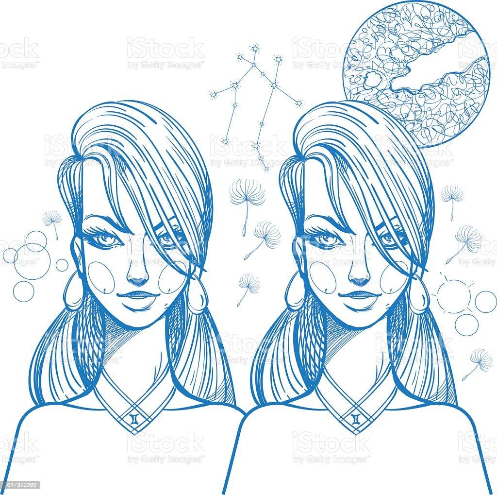 Portrait of the girl symbolizes the zodiac sign Gemini. vector art illustration