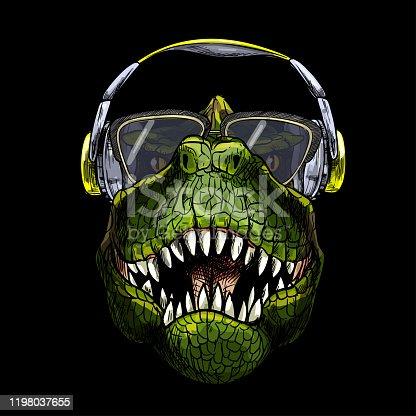 Portrait of T-Rex in sunglasses and headphones