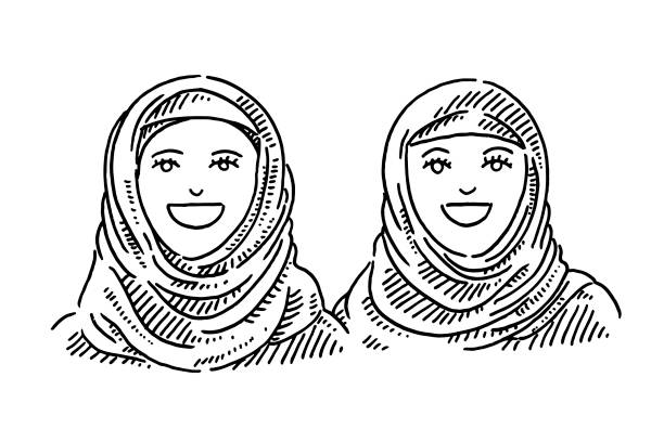 Portrait Of Two Muslim Young Women With Headscarf Drawing Hand-drawn vector drawing of a Portrait Of Two Muslim Young Women With Headscarf. Black-and-White sketch on a transparent background (.eps-file). Included files are EPS (v10) and Hi-Res JPG. women stock illustrations