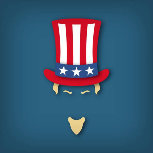 ilustrações de stock, clip art, desenhos animados e ícones de portrait of uncle sam in paper cut style. national holiday in united states of america independence day. vector illustration. - míssil terra ar