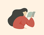 Woman Reading Book and Thinking, Sitting at Table, Reading Outloud, Minimal Middle Century Flat Vector Illustration Portrait about Education and Leisure Hobby.