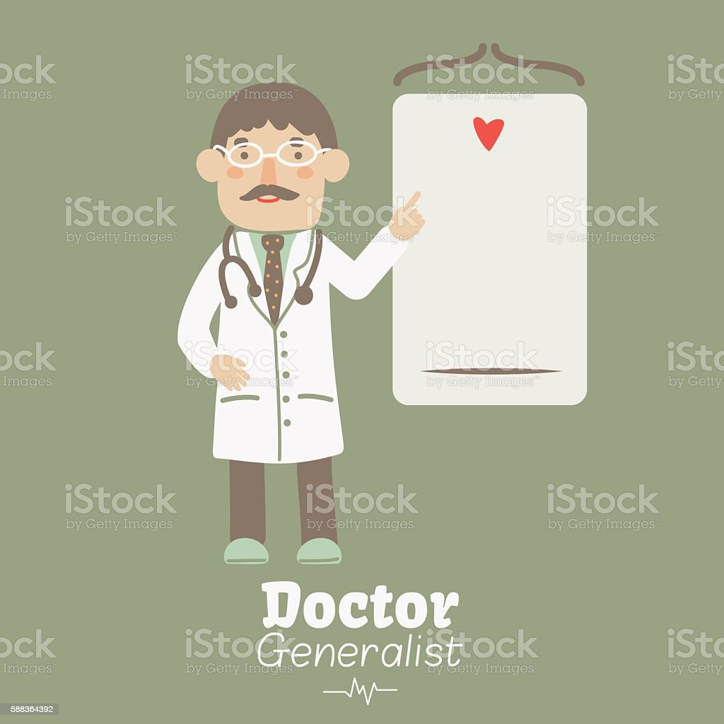 Portrait of young and smiling male doctor vector art illustration