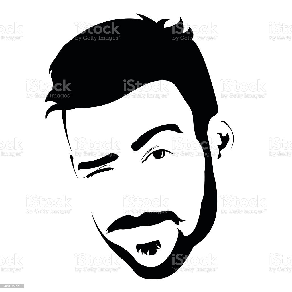 Portrait of young bearded charming man winking at camera. vector art illustration