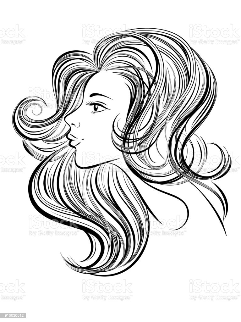 Portrait Of Young Beautiful Woman With Long Hair Hand Drawn Girl